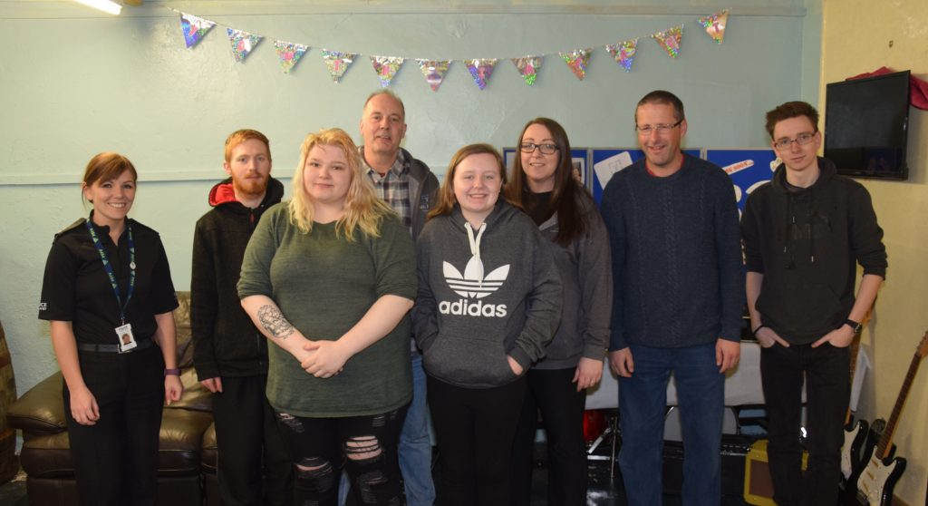Some of the partygoers at the one-year celebration. From left: youth engagement officer, PC Karen Cairns, Samuel Clements, Heather Claffey, Phil Edwards, Rachel Renton, Lesley Renton, Alec Black and Jason Wagstaff.