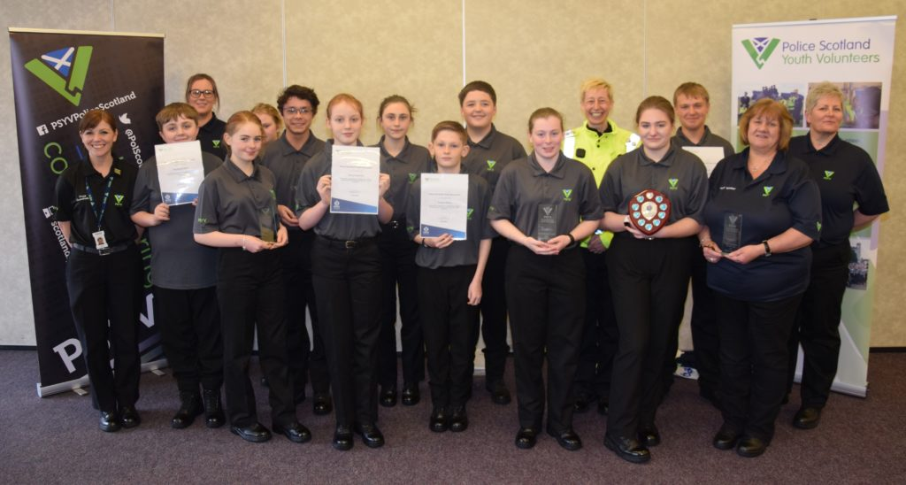Campbeltown's youth and adult volunteers are, from left: PC Karen Cairns, Murray McCallum, deputy group coordinator Shannon Milloy, Brodie MacLaren, Sheena Thomas, Samuel Davies, Nancy McKenzie, Ashley McAulay, Thomas Dickson, Jordan Todd, Iona Campbell, Ch Insp Marlene Bailey, Krystal Allen, Finlay Barnett, Aileen Morris and Arlene Scott.
