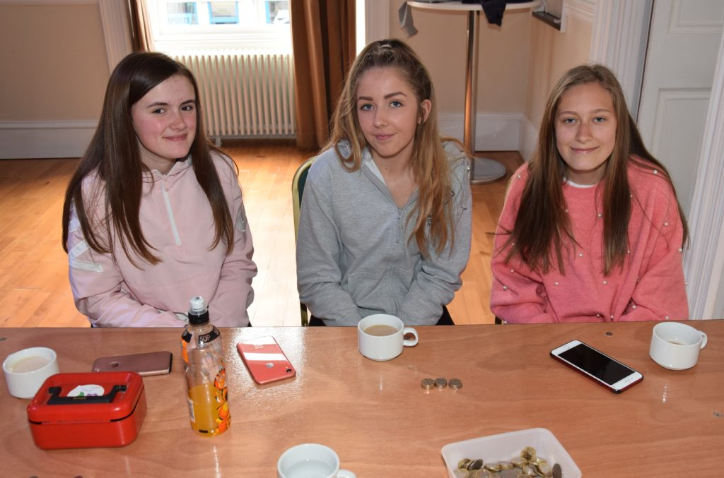 New recruits Heather Millar, Caitlin Russell and Chloe McPhee welcomed guests to the coffee morning.