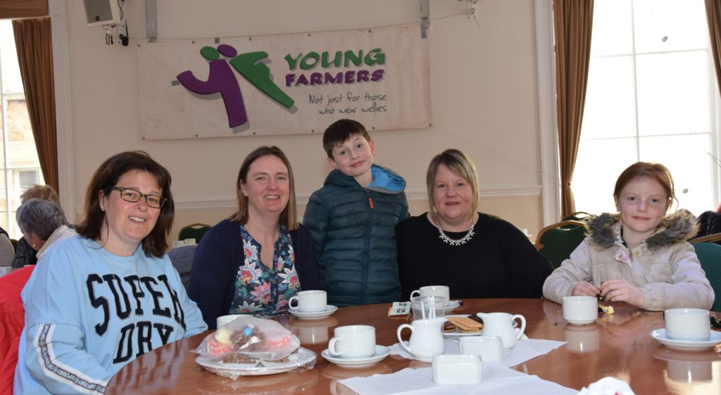 Donna McPhee, Kitty Millar, Donald McLean, nine, Linda McLean and Kate McLean, seven at the town hall event.