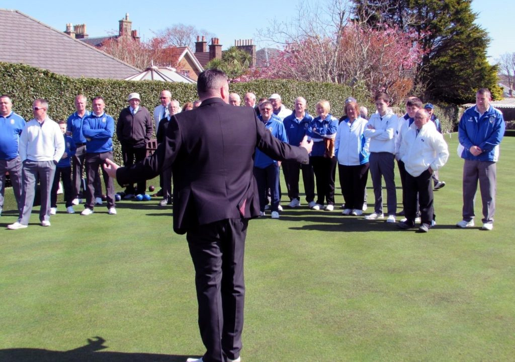 President Bobby Dalziel welcomes players and spectators to Campbeltown Bowling Club.