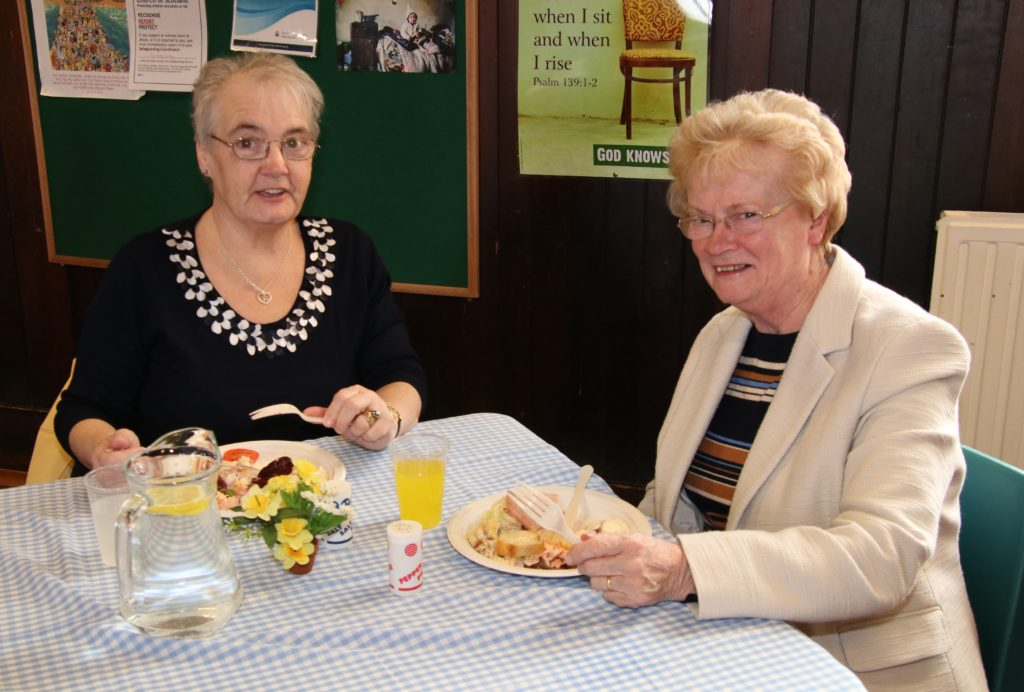 Marjorie Lang and Martha McLean enjoyed the lunch together.