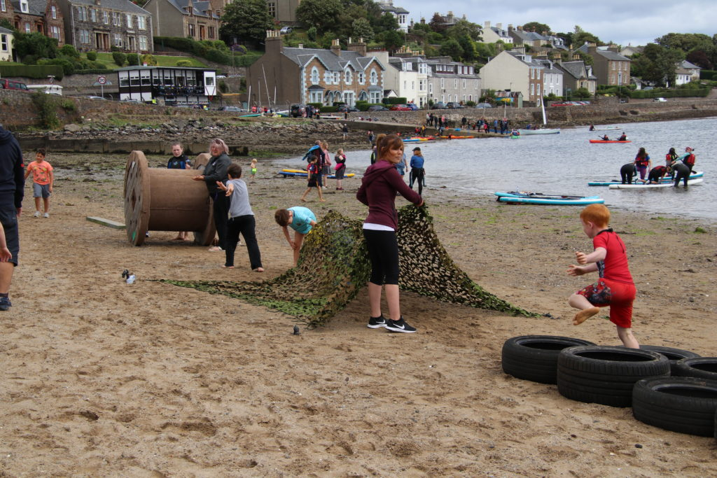 Beach games ensured even those on dry land had fun.
