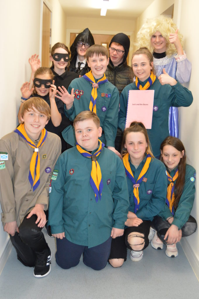 4th Argyll (Southend) Scouts who took part in Jack and the Beans as performers and stage crew.