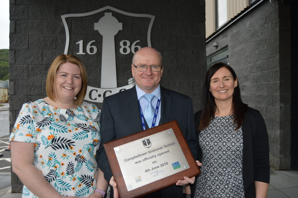 Campbeltown Grammar School, founded in 1686, and now officially open for business in its latest incarnation. Depute heads Kimberley Fletcher, left, Elaine McGeachy and head teacher David Fyfe.