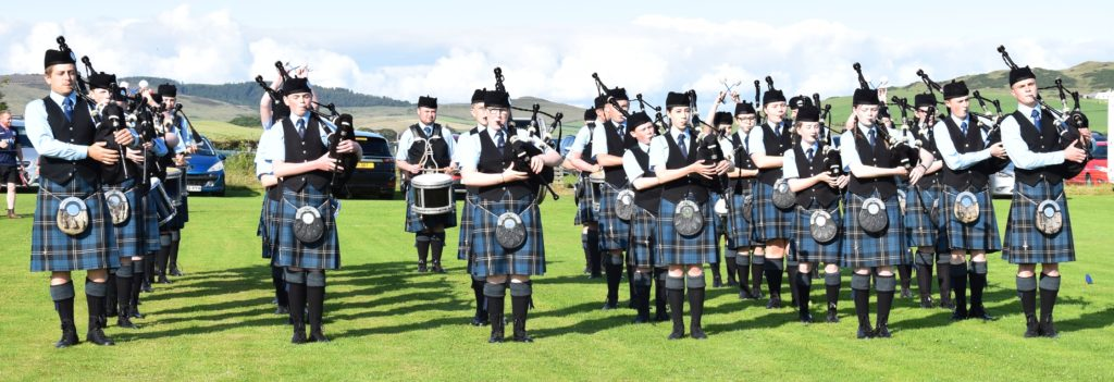 Kintyre Schools Pipe Band paraded at the start of the games.
