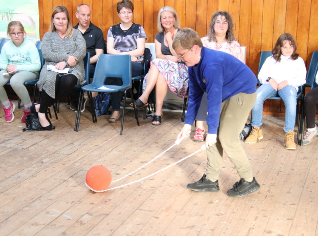 Concentration by Jim Ewart at ball and rope relay.