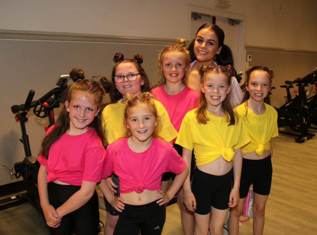 Morgan Irwin, back right, who danced individually to A Million Dreams, with some members of her group, Dance Collective, who performed to This Is Me.