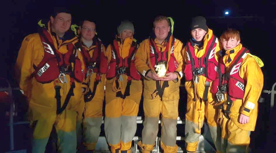 The crew that found the jar, photographed by Carla Jackson, from left: Lorne McMurchy (coxswain), Paul Ives, Claire Craig, Greg McMurchy, Mathew Conley and Dhyllon Cox.