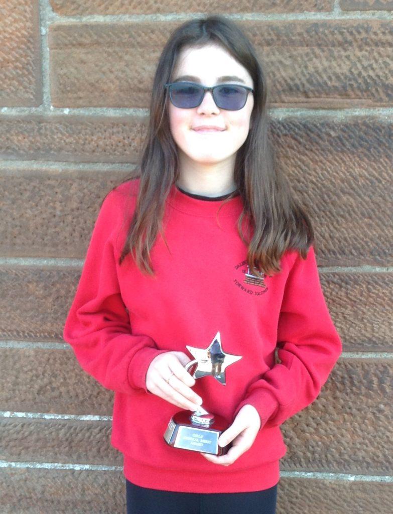 P7 Merit (Dux) Prize for girls runner up, Rianne Coffield.
