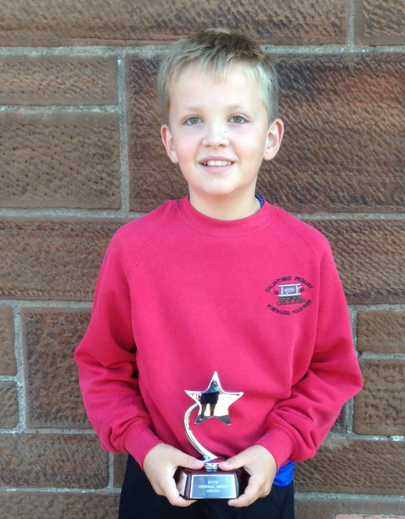 P7 Merit (Dux) Prize for boys runner-up, Fraser Lines.