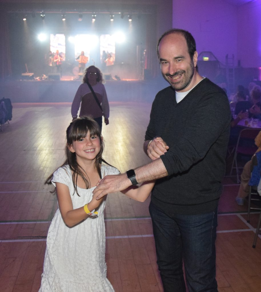 Father and daughter Oscar and Zelda Ferreiro, from Spain, enjoyed Friday night's Festival Ceilidh.
