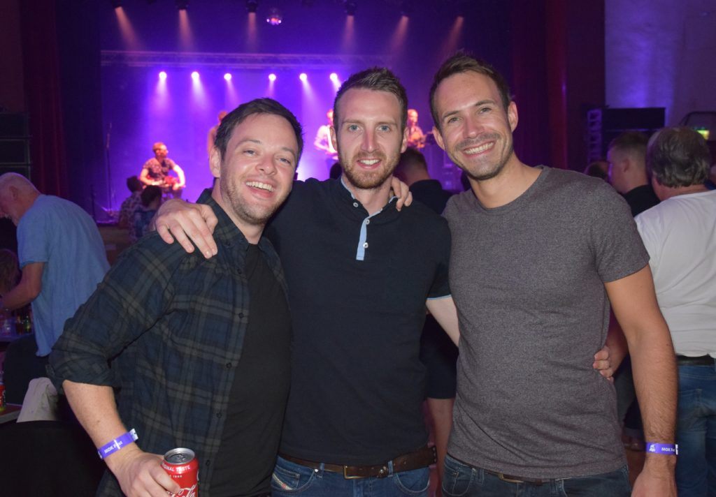 University friends Rudi Mathieson, from Glasgow, and Chris McCorquodale and Ben Elliott, both from Edinburgh, were in Kintyre on a golfing trip and decided to join the fun at Saturday's West Coast Rocks Concert.