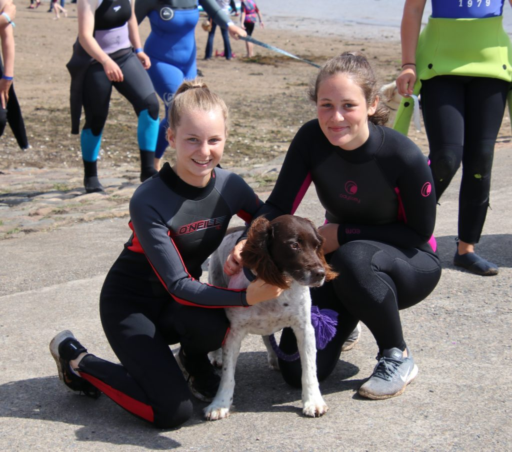 Alison Wylie, Jessica Ronald and their four-legged friend enjoyed their day at the beach.