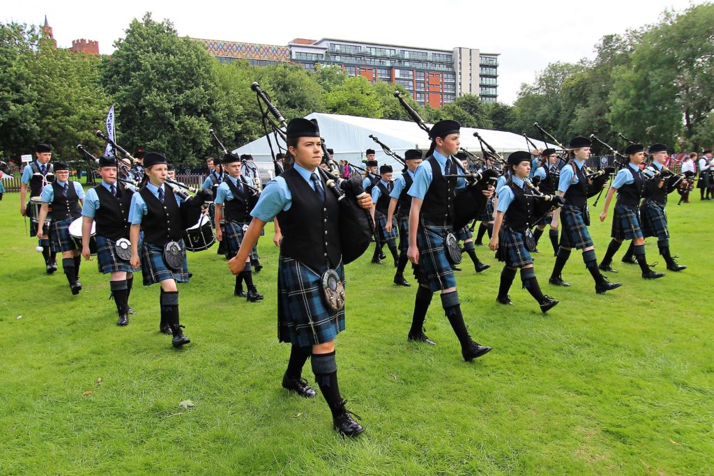 Kintyre Schools Novice Band marches into the arena.