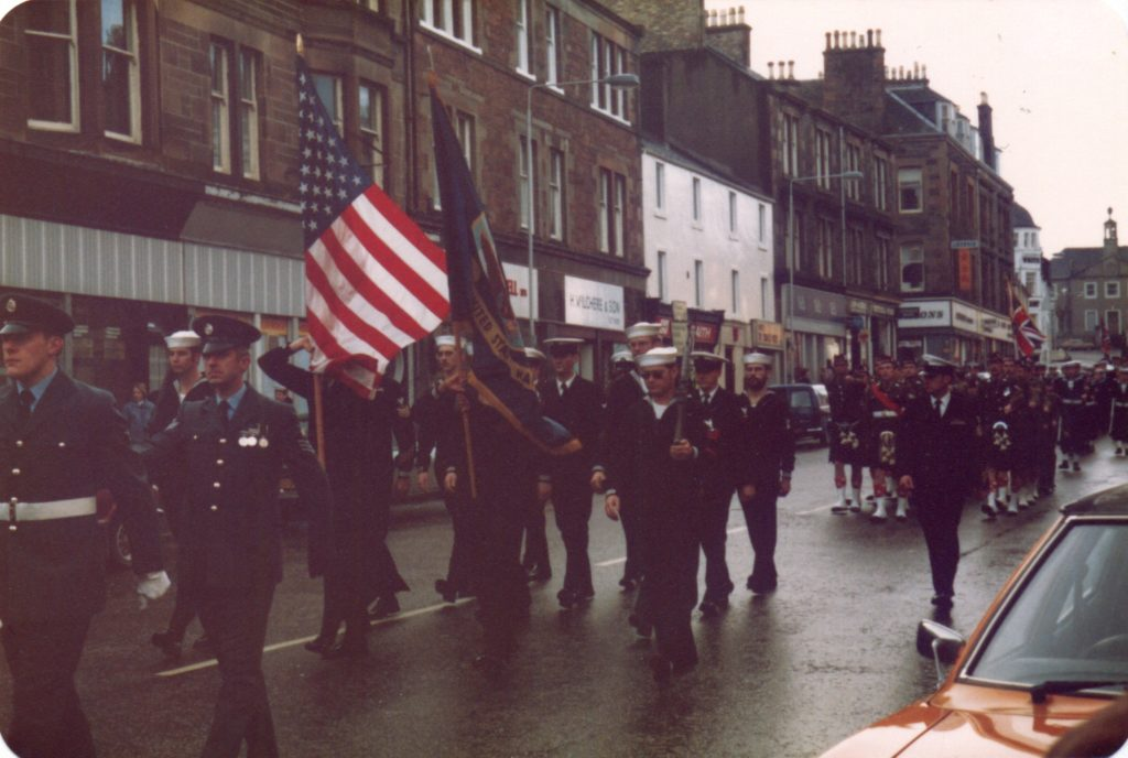 Members of the American military, who were stationed at RAF Machrihanish, marching through Campbeltown.