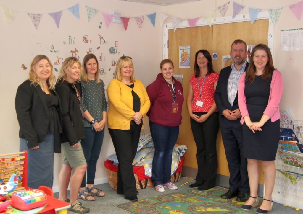 At the Meadows Nursery, left to right: Anne Marie Allen, Just Enterprise programme manager; Ailsa Clark and Joanne Slater, Inspiralba; Caroline Deans, Tracey McLaren and Catriona McIvor, Meadows under fives; Niall McLean, SEA; and Aileen Campbell MSP.