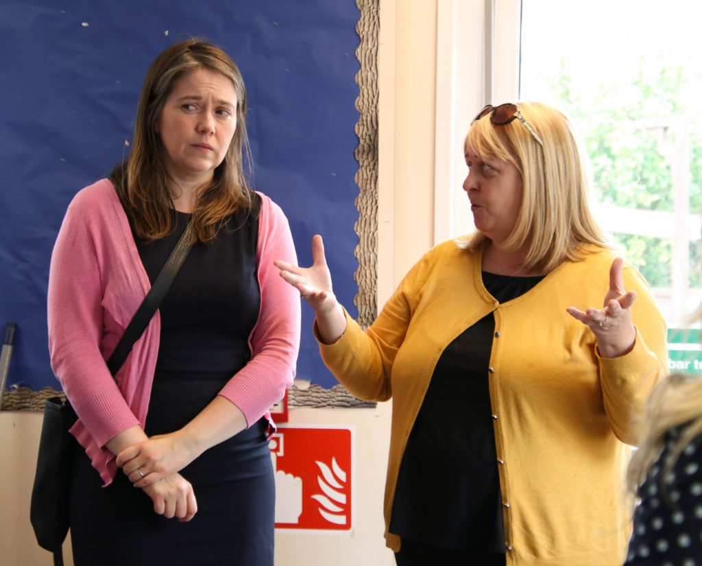Caroline Deans from Meadows Under Fives Nursery, right, discussed the current shake-up in pre-schooling and the new '1,140 hours' provision with Aileen Campbell MSP.