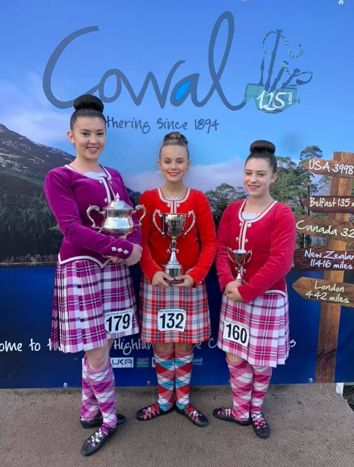 Senior dancers from James McCorkindale's School of Dancing, from left, Linzi Cameron, Solana McMurchy and Lisa McKellar, with their trophies.