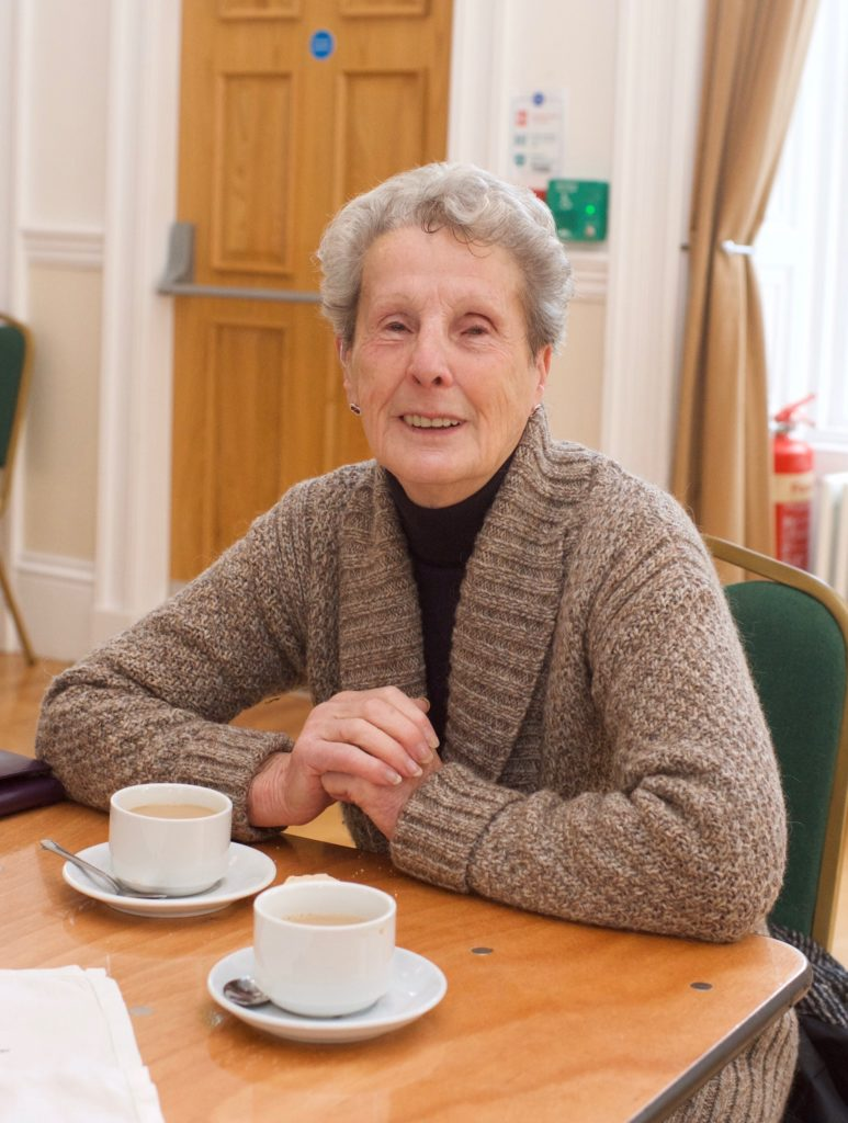 Isobel McDonald enjoyed a cuppa at the Cancer Research UK fundraiser.