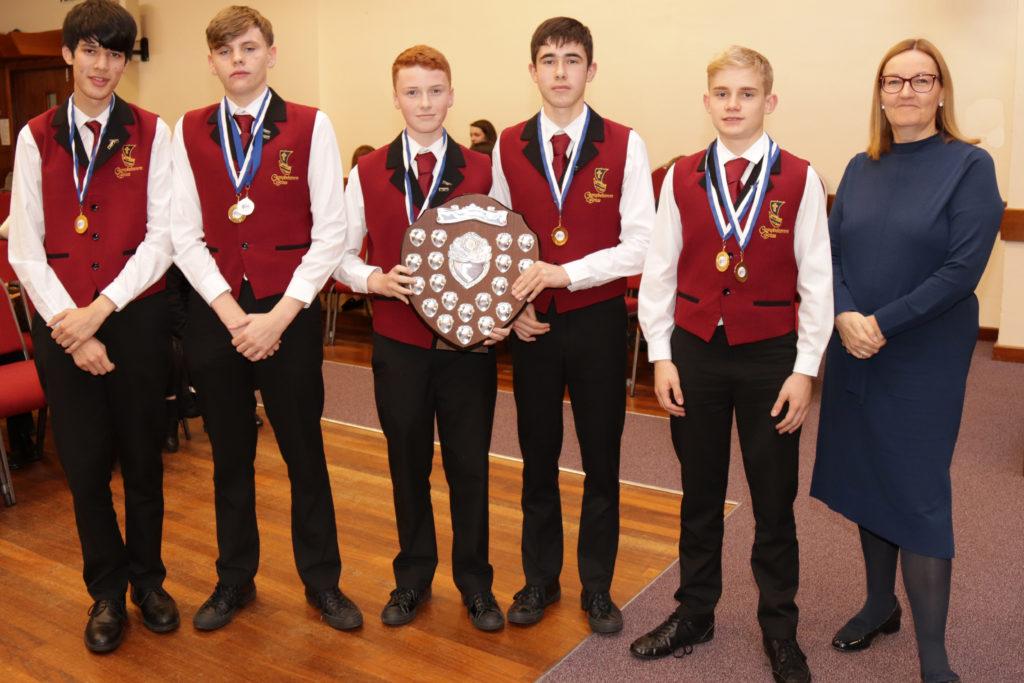 Intermediate ensemble winners, Campbeltown Brass A's Caius Walker, Drew Cunningham, Scott Oman, Kyle Paterson and Jack Campbell.