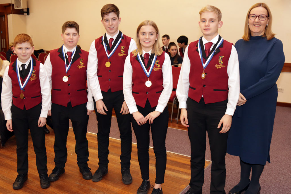 The second placed intermediate ensemble, Campbeltown Brass B's Charlie Colville, Jamie Colville, Andrew Colville, Rona Campbell and Jack Campbell.