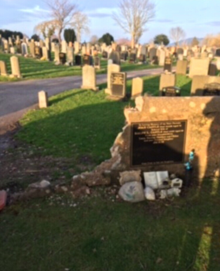 Damaged grave