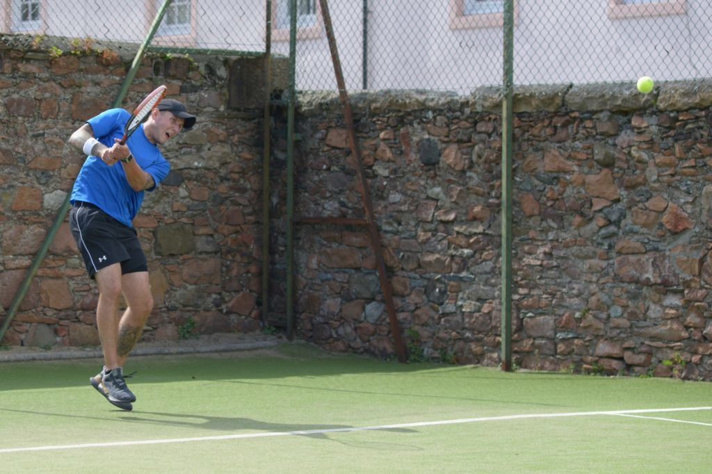 Tennis singles players strung out in tough tiebreak