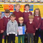 The children of Southend Primary School and pre-five unit with their Bronze: Rights Committed award.