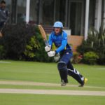 Liam batting at the stumps.